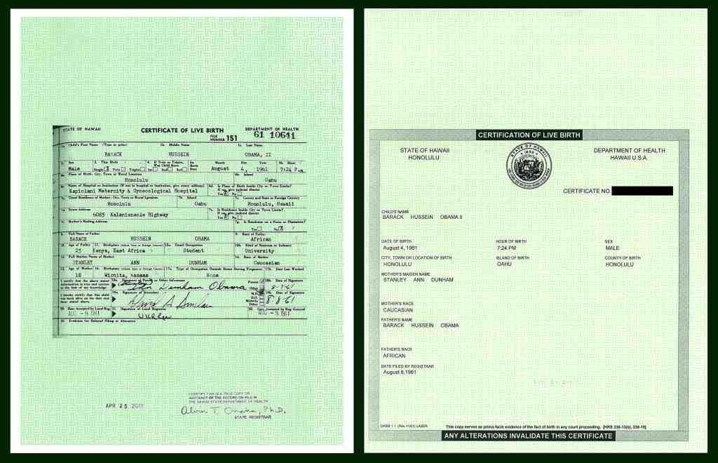 Articles obamas other big lie obama pdf forgery with white border and genuine short form birth certificate side by side each measuring 85 by 11 inches yadclub Gallery