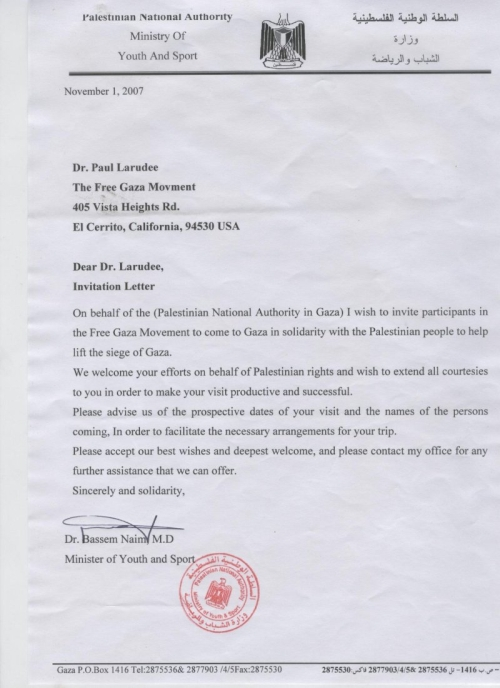 Invitation Letter Format For Norway Visa.  Smoking Gun The Free Gaza Movement and Hamas