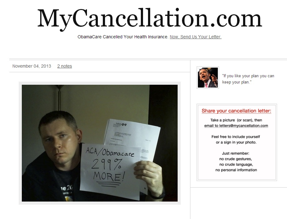 Blog: Website collecting Obamacare health insurance cancellation ...
