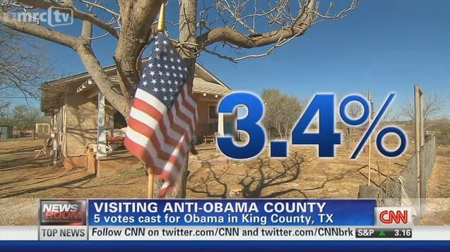 CNN Miffed by 'Anti-Obama' County in Texas; Excuses Inner City Districts with Zero Romney Votes