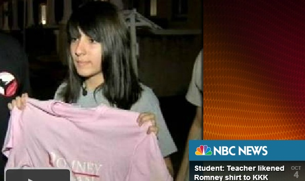 Teacher Mocks Student in Romney T-Shirt, Uses KKK Comparison