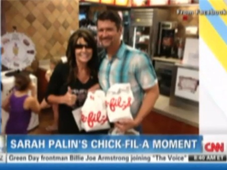 Palin eats Chick-fil-A, CNN plays Pink's